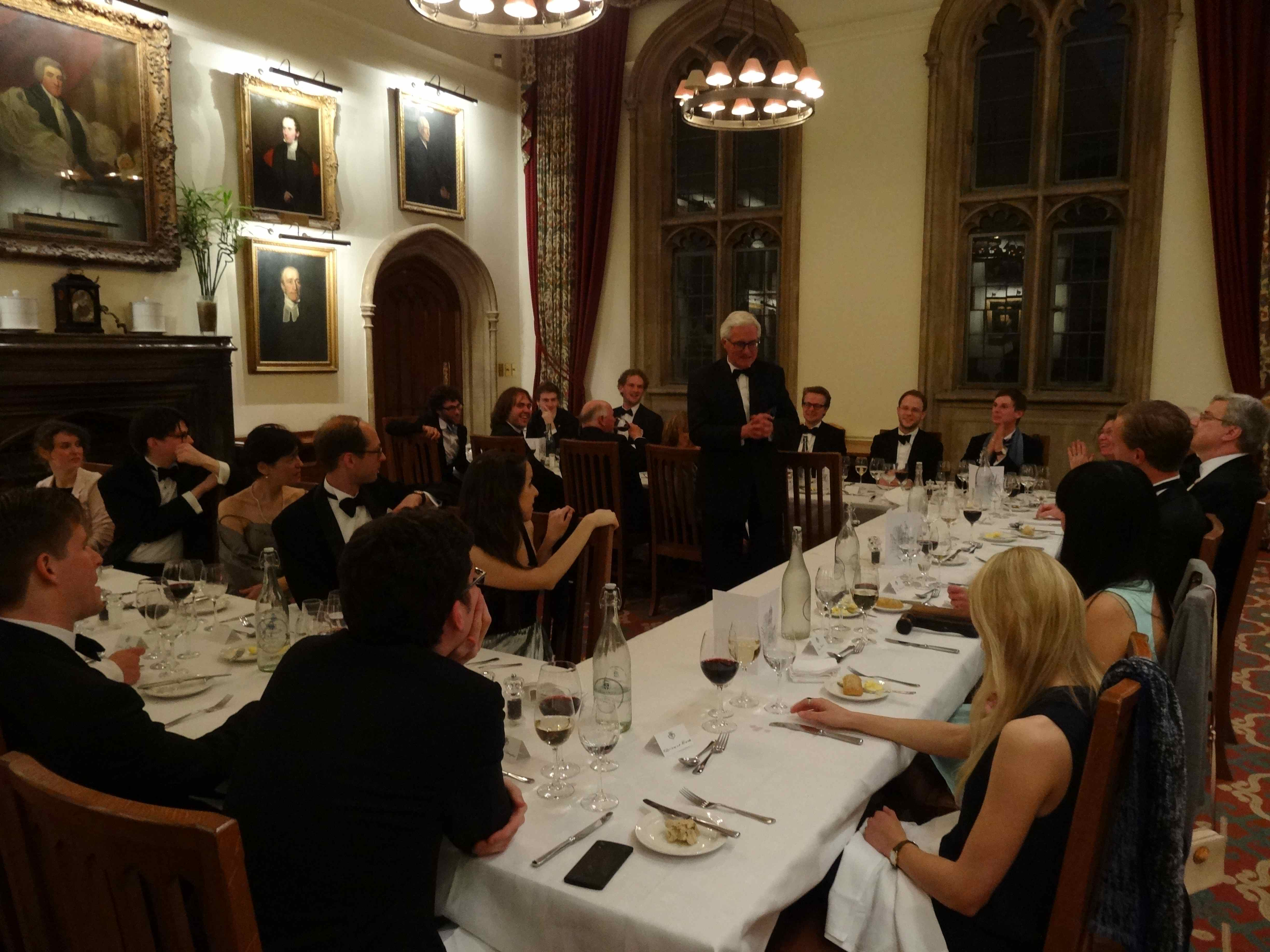 H.E. Mr Guy Trouveroy, ambassador of the Kingdom of Belgium to the Court of St James's, addressing the Oxford OUSL Dinner