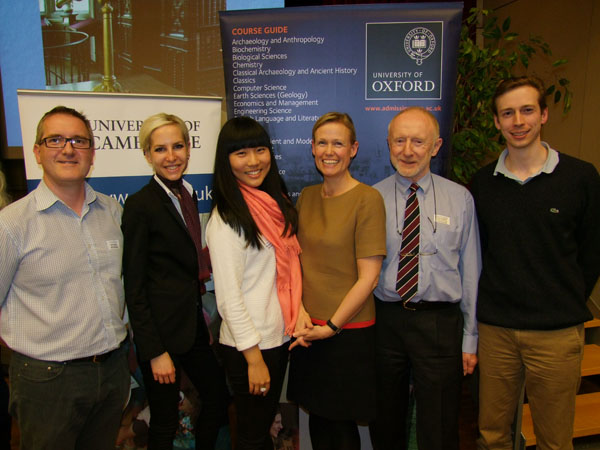 The speakers (l. to r.): Steve Brabbs (CUSL), Anne-Marie Grunig (OU graduate), Xin Yuan (OU undergraduate), Hon. Alice Walpole (British Ambassador), Andrew Hallan (OUSL), Dr Toby Cubitt (Churchill College Cambridge). Photo: Geoff Thompson, chronicle.lu