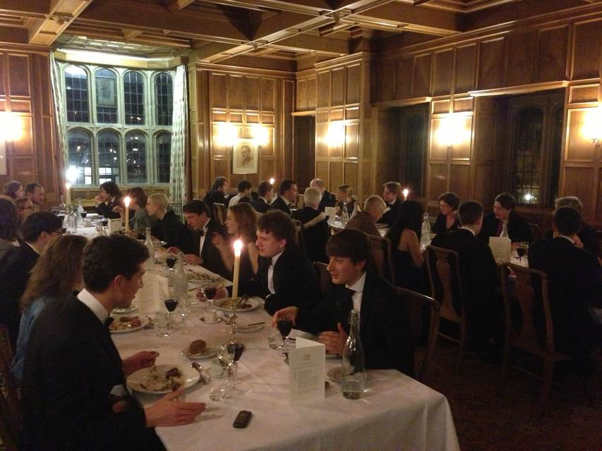 Members of OUSL and the Belgo-Luxembourgish Society of Oxford enjoying an evening at University College